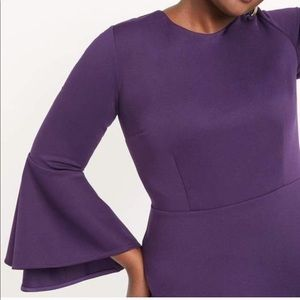 Eloquii Flare Sleeve Scuba Dress in Purple